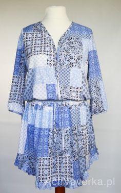 Sukienka z falbanką na dole Livi. AchVeverka.pl #sukienka #niebieskasukienka #sukienkanalato #achveverka #livi #falbanka #zwiewna #delikatna