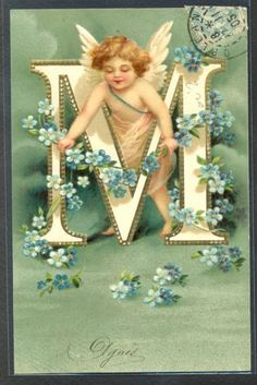 PF059-CLAPSADDLE-ALPHABET-LETTER-M-CUPID-ANGEL-FORGET-ME-NOT-Embossed-1905