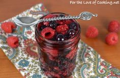 Roasted Raspberries and Blueberries with Vanilla Bean