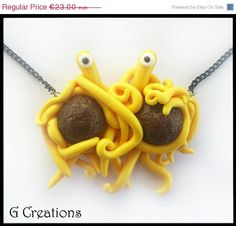 ON SALE Flying Spaghetti Monster Necklace  by GabriellesCreations