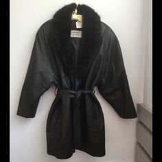 "HOLD FOR ICEMA ⚡️Host Pick ⚡️Black Leather Coat Sweater Weather Host Pick 1/2. This black leather coat is in excellent used condition. No flaws on leather or lining. Fake fur collar adds a classy touch. Length is 36"" from collar to hem. Sleeves are 25"". Jackets & Coats"