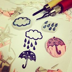 Rainy day rubber stamps