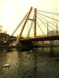 Bridge over Brda River. Bydgoszcz, Poland.