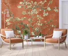 """Cara Saven Wall Design on Instagram: """"This is an old Van Gogh painting where we have adjusted the colours. What is staggering to me is how no matter what era of history you…"""" A N Wallpaper, Tropical Wallpaper, Custom Wallpaper, Designer Wallpaper, Van Gogh Paintings, Old Wall, Outdoor Furniture Sets, Outdoor Decor, Wall Design"""