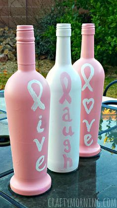 Breast Cancer Awareness Wine Bottle Crafts - There are also mason jar ideas (great homemade gifts) | CraftyMorning.com