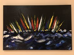 Oil on canvas 50cm x 40cm using palette knife to create big waves set against a black black background. Email me for postage and packing cost or collection.