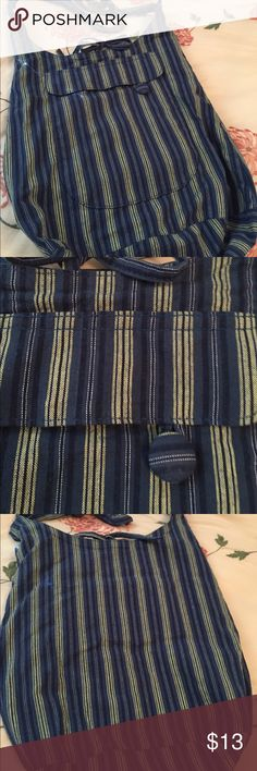 Cotton crossover bag Live the navy and yellow striping on this crossover bag Cotton with polyester lining No tears or signs of wear Lots of pockets 14 square EUC J. Crew Bags Satchels