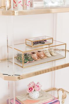 Palm Beach Lately Blush, white, black and gold Swan Soiree Nursery  Lucite and brass etagere