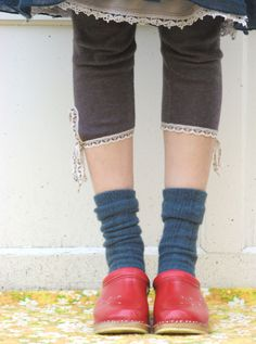 Red Clogs, socks, tights and skirt Oh yea