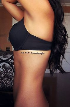 Simple Na Mo Amitabha Tattoo Quotes on Rib - Buddha Quote Tattoos meaning compassion and wisdom