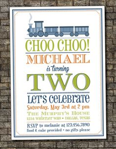 Choo Choo Train Birthday Invitation, Boy's Train Birthday Party, Boys Second Birthday Invitation, Train Birthday Party 5x7 - Printable