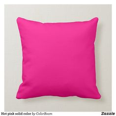 Hot pink solid color throw pillow Pink Throw Pillows, Colorful Pillows, Accent Pillows, Decorative Throw Pillows, Pink Cushions, Decor Pillows, Neon Purple, Bright Purple, Pink Color