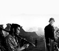Akira Kurosawa and Toshirō Mifune on the set of Seven Samurai (1954)