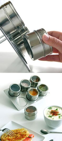 Magnetic Spice Jars - for keeping your favorite most-used herbs and spices #product_design