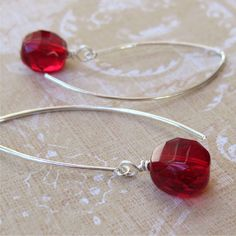 Earrings Czech glass beads sterling silver wires Berry Red - free shipping. $12.00, via Etsy.