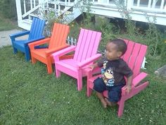 DIY Instructions for Kid's Adirondack Chairs ana white Outdoor Projects, Projects For Kids, Diy For Kids, Home Projects, Woodworking For Kids, Woodworking Plans, Woodworking Projects, Woodworking Furniture, Pallet Crafts