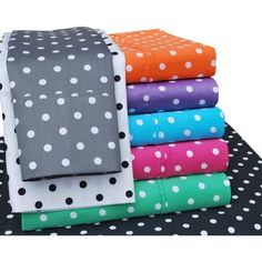 Superior 600 Thread Count Wrinkle-Resistant Luxury Cotton Polka Dots Design Sheet Set, Purple