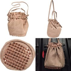 """Alexander Wang - Diego taupe + rose gold hardwear Authentic 1st edition Alexander Wang 'Diego' bucket bag purchased @ Barney's in Beverly Hills // Open to Offers!! Bag recently cleaned but pebbled leather is well worn & wear shows up darker on the bag, meant to age this way. Noticeable wear on straps. Scratches on bottom of hardwear, but no missing ones. Smells like aged leather, can be treated by professional leather treatment. 6""""W x 11""""H x 5""""D; 7"""" strap + 13""""-18"""" adjustable shoulder strap…"""
