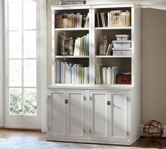 Logan Bookcase bases with doors & 2 hutches with open shelves), Antique White At Pottery Barn - Furniture - Cabinets & Bookcases Pottery Barn Bookcase, Reclaimed Wood Bookcase, Home Office Furniture, Home Office Decor, Home Decor, Office Ideas, Cabinet Furniture, Furniture Ideas, Office Designs