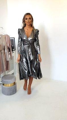 Mary Metallic Maxi Dress at ikrush Metallic Maxi Dresses, Satin Midi Dress, Black Midi Dress, Satin Dresses, Sexy Dresses, Fashion Dresses, Silver Metallic Dress, Bodycon Dress, Casual Summer Dresses