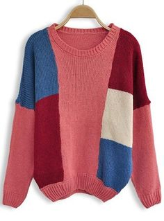 Red Blue White Long Sleeve Pullovers Sweater