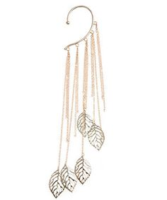 gold chain and leaf ear cuff brings an edge