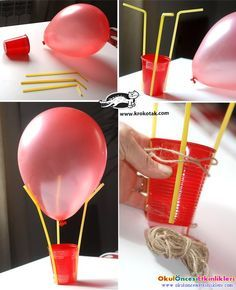 Flying balloon making; 1 balloon, 3 pipettes and 1 cup with Cappadocia flying balloons can do. One of the trends in recent times is to use a flying balloon in Flying Balloon, Air Balloon, Balloons, Stem Projects, Projects For Kids, Diy For Kids, Science Projects, Balloon Crafts, Balloon Decorations