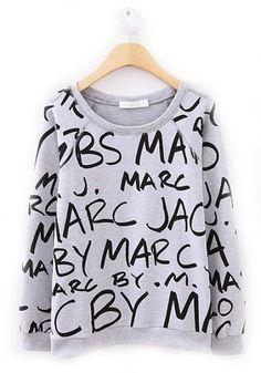 Cheap sweatshirt set, Buy Quality printed sweatshirt directly from China print tee Suppliers:                  Grey Long Sleeve Black Letters Print Sweatshirt             Bust(cm) :92CM      Length(cm)