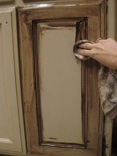 old painted cupboards   Glazing Painted Kitchen Cabinets using old masters gel stain....   DIY