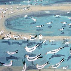 'Birds Wading' By Painter Hannah Hann. Blank Art Cards By Green Pebble. www.greenpebble.co.uk