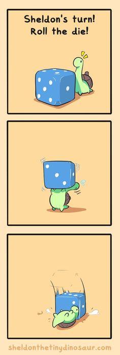 Sheldon rolling the dice Cute Memes, Funny Cute, Funny Memes, Hilarious, Cute Animal Drawings, Cute Drawings, Cute Comics, Funny Comics, Turtle Dinosaur