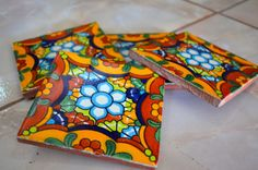 8 Mexican Talavera Tiles. Hand made-Hand painted 4 by MexicanTiles