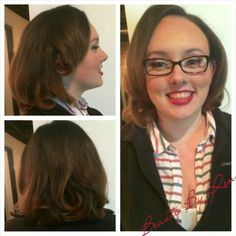 Vintage pinup hair and makeup, voluminous loose curl blowout on short hair with traditional 40s makeup to go with cat eye glasses - Beauty By Ren