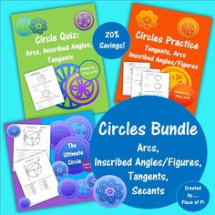 Circles Bundle: Find inscribed angle measures, work with arcs, tangents, secants, & inscribed figures. Save 20% with this purchase! Check it out at the TpT store Piece of Pi.