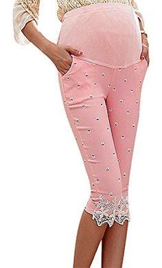 95a04dc1fc6f1 USR Womens Micro Print Lace Cuff Maternity Secret Fit Belly Crop Skinny  Pants Pink 8 ManufacturerXL