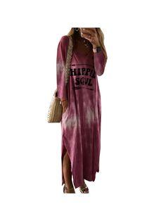 Long Sleeve Maxi, Maxi Dress With Sleeves, Shirt Dress, Cheap Dresses, Casual Dresses, Long Dresses, Maxi Dresses, Vestidos Color Azul, Floryday Vestidos