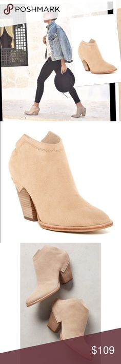 """Dolce Vita 'Haku' Suede Mule in Natural A stacked-heel bootie is a little bit Western and refreshingly modern, thanks to a sharply cut shaft that shows off its angles and an exposed-staple overlay at the back. A surprisingly versatile piece that will make everyone do a double-take. 3"""" heel  3 1/2"""" boot shaft. Leather upper/textile and synthetic lining/synthetic sole. By Dolce Vita; imported. Dolce Vita Shoes Ankle Boots & Booties"""