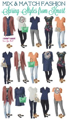 Before you start heading to the mall to pick up the latest spring fashion, consider putting together a mix and match wardrobe (or capsule wardrobe as others may call it). With the purchase of 10-15 articles of clothing, you can create an entire wardrobe full of colors you love and easy co-ordinations. I put together 15 inexpensive outfits with my 15 clothing options from Kmart, but could have easily created more.