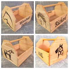 Custom, Personalized Wood Grooming Tote / Brush Box for Horses by HorseHopes on Etsy