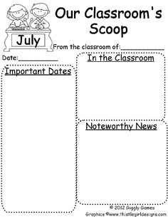 Free Newsletter Templates  Second Grade    Newsletter