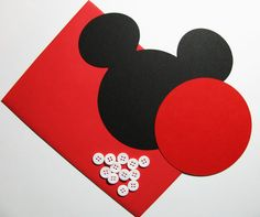 "Mickey DIY Invitation Kit w/envelopes- Mickey head with shorts: 40 pack- 5"" Mickey Mouse ear die cuts (BLACK) w/ 20 circles (RED) & buttons on Etsy, $42.00"