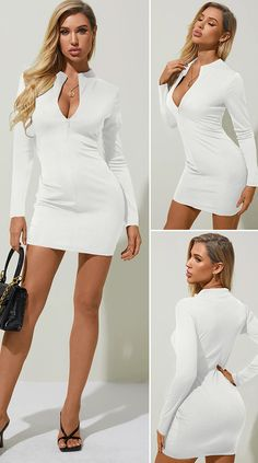 White Zip Front Deep V-neck Long Sleeves Mini Dress HOT SALES 2020, beautiful dresses, pretty dresses, holiday fashion, dresses outfits, dress, cute dresses, clothes, classy & elegant, elegant style, mode trends 2020, trending, fashion, fashion looks, moda, women, beautiful, beauty, buy, sale, shop, shopping, vestidos elegantes, vestidos fofos, vestidos bonitos