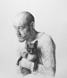 Amazing Artist Sam Kim (Korean: 1981) - Self Portrait  with cat - Artist Uses Short Strokes to Create Complete Drawings - My Modern Metropolis