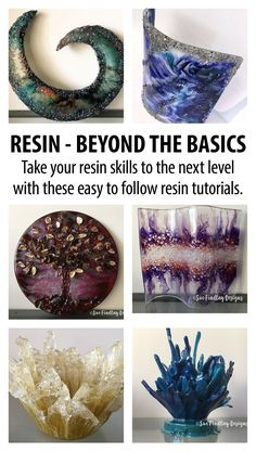 Spice up your resin art resin tutorials. Learn how to incorporate texture into your resin pieces, create interesting, unique resin sculptures & learn how to bend resin into shape. Epoxy Resin Art, Diy Resin Art, Art Diy, Diy Resin Crafts, Uv Resin, Acrylic Resin, Resin Molds, Diy Epoxy, Resin Pour