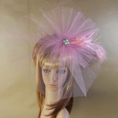 Pink Feather and Pearl Tulle Fascinator by IrmasElegantBoutique on Etsy