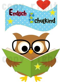 Bügelbild A5 – Endlich Schulkind Eule mit Buch - Kreawusel-handmade