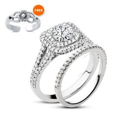 Free Gift !! 1.25 CT Simulated Diamond Double Halo Bridal Ring Set In 925 Silver…
