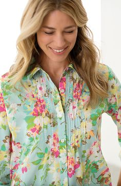 Misses > cotton pintucked print shirt at J.Jill