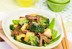 Grünes Wok-Gemüse mit Rindfleisch » Kochrezepte von Kochen & Küche Broccoli, Low Carb, Vegetables, Food, Suppers, Cooking Recipes, Food And Drinks, Food Food, Veggies