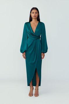 Satin Midi Dress, Bodycon Dress With Sleeves, Maxi Wrap Dress, Floral Midi Dress, Chiffon Dress, Dresses With Sleeves, Long Sleeve Wedding, Stylish Outfits, Fashion